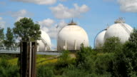 Round Oil tanks at European Refinery video
