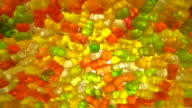 Round, tasty, glossy, multicolored, translucent appealing candied fruit jelly video