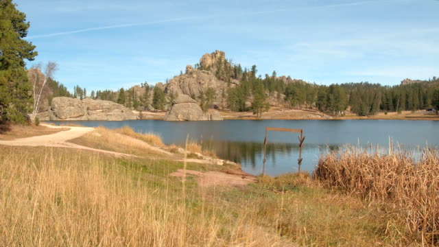 CLOSE UP: Rounded granite formations along the walkway around Sylvan Lake video