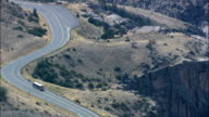 Route 14 through Shell Canyon  - Aerial View - Wyoming, Big Horn County, United States video