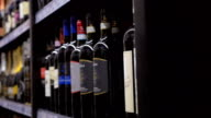 Row of alcoholic drinks in the store video