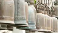 Row of brass bell. video