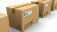 Row of cardboard boxes video