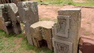 Row of megalithic stones in Puma Punku video
