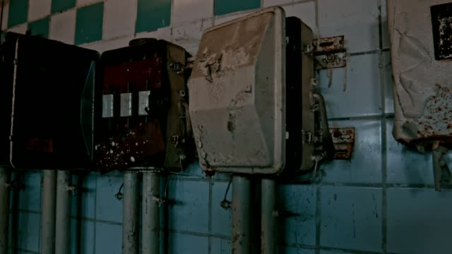 Row of old electric meters video