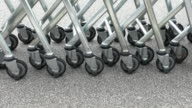 Row of shopping trolleys or carts video