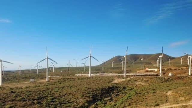 Row of wind power generators video
