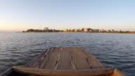 rowboat float raft downstream on lake video