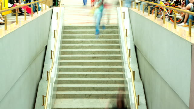 Сrowd of people climbing stairs, timelapse video