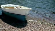 Rowing boat at shore video