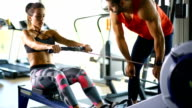 Rowing exercise at the gym video