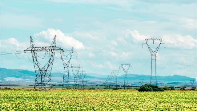 Rows of power pylons in green fields. video