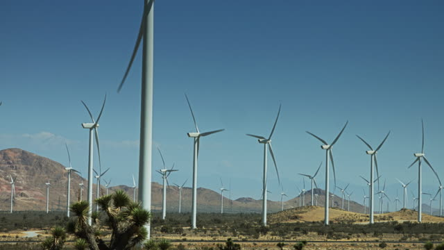 Rows of Wind Turbines from the Rear video