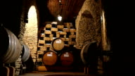 Rows Of Wine Barrels In A Cellar video