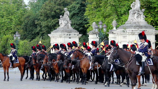 Royal house guards Belgium, Brussels parade near Palace, cavalry. Beautiful shot of Europe, culture and landscapes. Traveling sightseeing, tourist views landmarks of Belgium. World travel, west European trip cityscape, outdoor shot video