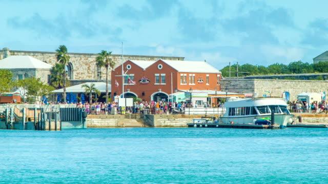 Royal Naval Dockyard, Bermuda with People and Buildings video