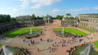 Royal Palace Dresden aerial shot, court place Germany, tourism. Beautiful aerial shot above Europe, culture and landscapes, camera pan dolly in the air. Drone flying above European land. Traveling sightseeing, tourist views of Germany. video