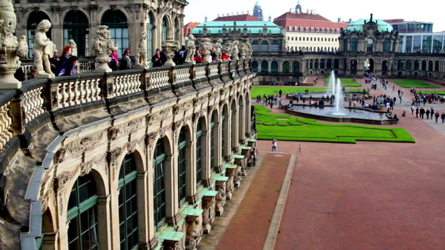 Royal Palace Dresden establishing shot pan, tourist people crowd. Beautiful shot of Europe, culture and landscapes. Traveling sightseeing, tourist views landmarks of Germany. World travel, west European trip cityscape, outdoor shot video