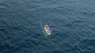 AERIAL Rubber boat at sea video