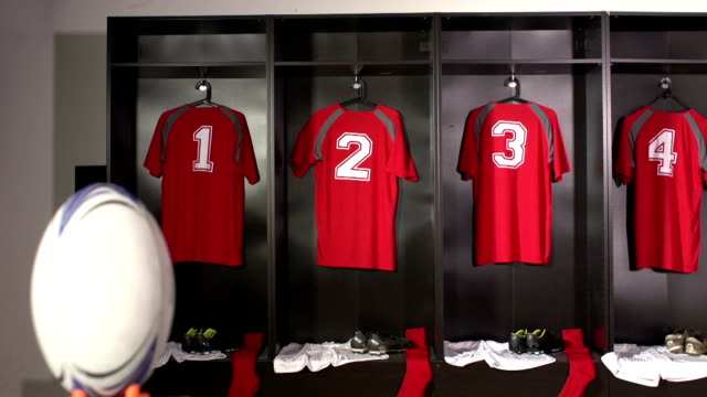 Rugby Locker / Changing / Dressing room - DOLLY motion video