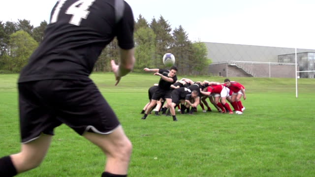 Rugby Scrum and pass / spin the ball out - Super slow motion video