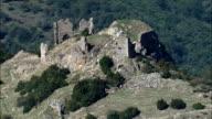 Ruined Chateau De Pierre Gourde  - Aerial View - Rhône-Alpes, Ardèche, Arrondissement de Privas, France video