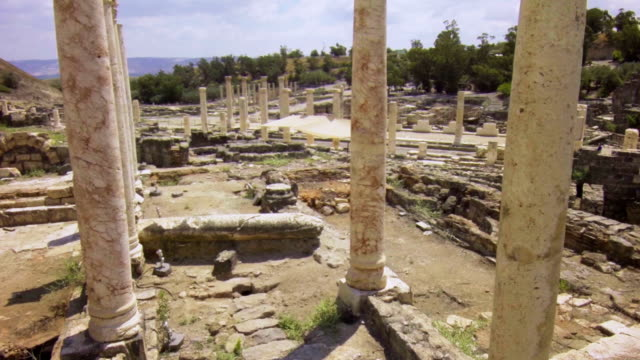 Ruined columns of ancient town video