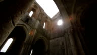 Ruined inner walls to Whitby Abbey in North Yorkshire in England. English Heritage. video
