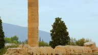 Ruined Olympieion in center of Greek capital city Athens, ancient temple remains video