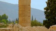 Ruins and column of the Temple of Olympian Zeus in Athens, tourist attraction video