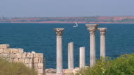 ruins of an ancient temple on the seashore video