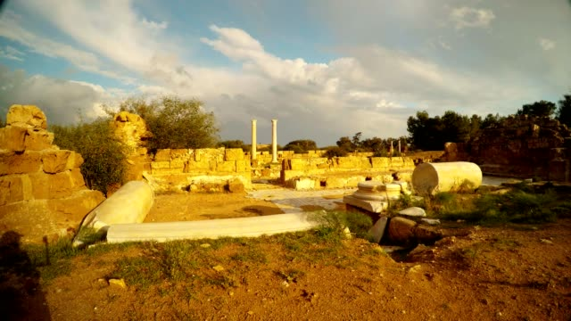 Ruins of ancient town Salamis far two columns sunny day video