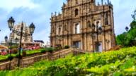 Ruins Of Saint Paul's Cathedral Landmark Travel Place Of Macau 4K Time Lapse (tilt up) video