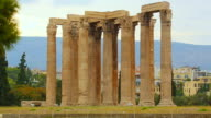 Ruins of Temple of Olympian Zeus in Athens, popular tourist attraction in Greece video