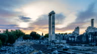 Ruins of the largest in the world Apollo temple with spectacular sunrise, Didim, Turkey, 4k, time lapse video