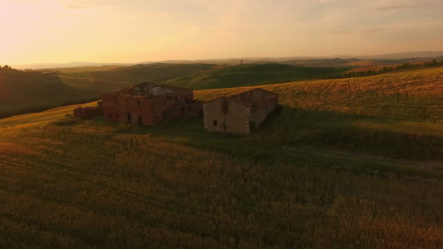 AERIAL Ruins on top of a hill at sunset video