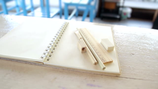 Ruler,Pencil,Eraser,and Book with blank pages,Dolly Shot video
