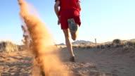 SLO MO LA Runner Kicking Sand In The Desert video