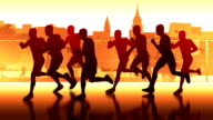 Runners-silhouettes. Marathon through the city video