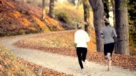 Running at park in autumn video