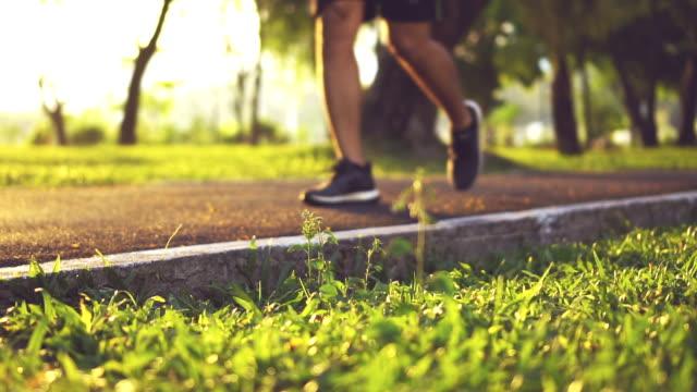 Running at Sunset Jogger Jogging, slow motion video