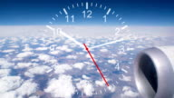 Running Clock with Cloudscape from Air Plane Window View video