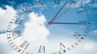 Running clock with cloudscape video
