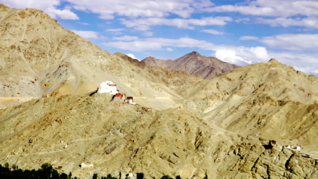 Running clouds over the the Tsemo Maitreya Temple in Leh, India. video