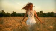 HD SLOW-MOTION: Running In A Wheat Field video