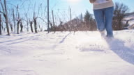SLO MO Running In The Snow Covered Vineyard video