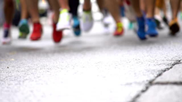 Running marathon runners in slow motion. video