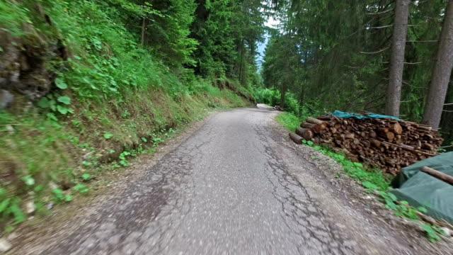 Running on mountain road - Dolomites - Italy video