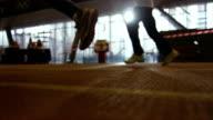 Running peoples on racetrack video
