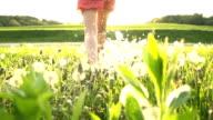 HD SUPER SLOW MO: Running Toward The Sun In Meadow video